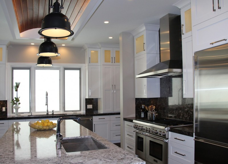 Transitional style kitchen - a blend of contemporary and traditional.