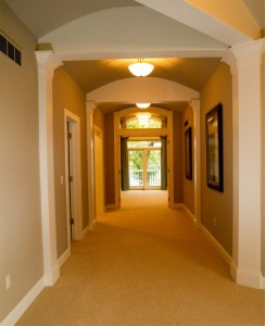 This wide hallway is a beautiful feature and also accommodating.